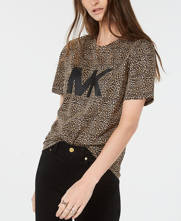 Michael Kors Cotton Leopard-Print Logo T-Shirt, Regular & Petite Sizes