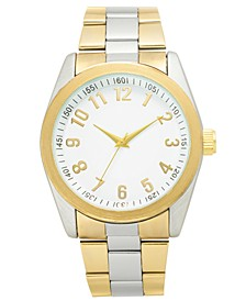 INC Men's Two-Tone Bracelet Watch 45mm, Created for Macy's