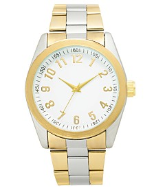 I.N.C. Men's Two-Tone Bracelet Watch 45mm, Created for Macy's