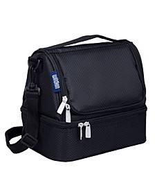 Rip-Stop Black Two Compartment Lunch Bag