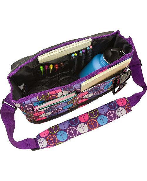 Peace Signs Purple 13 X 10 Messenger Bag