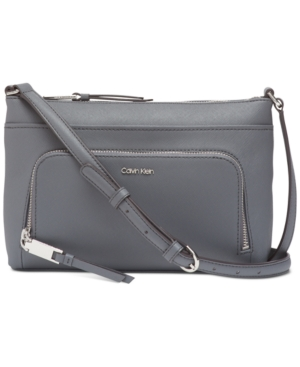 Calvin Klein Lily Saffiano Leather Crossbody In Asphalt/Silver