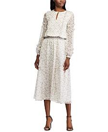 Lauren Ralph Lauren Floral-Print Ruffle-Trim Georgette Dress