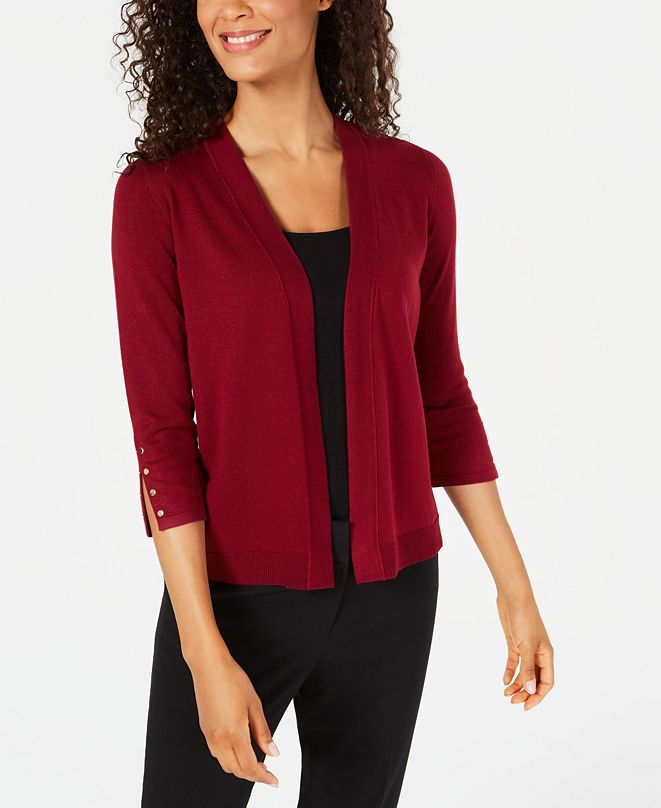 JM Collection Studded Open-Front Cardigan, Created for