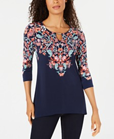 JM Collection Embellished Printed 3/4-Sleeve Top, Created for Macy's