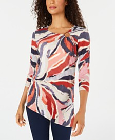 JM Collection Petite Printed Asymmetrical Top, Created for Macy's