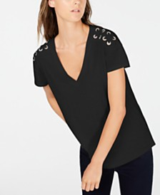 I.N.C. Petite Cotton Crisscross-Trim Grommeted Top, Created for Macy's