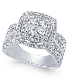 Diamond Princess Halo Engagement Ring (2 ct. t.w.) in 14k Gold