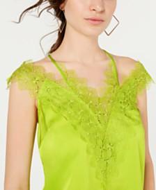 GUESS Izabella Lace-Trim Cold-Shoulder Top