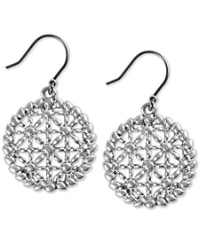 Silver-Tone Basketweave Openwork Drop Earrings