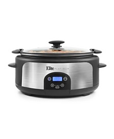 Elite Platinum 6Qt. Programmable Stainless Steel Slow Cooker with Locking Lid
