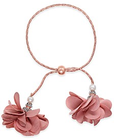 I.N.C. Rose-Gold Tone or Gold-Tone Imitation Pearl & Fabric Flower Bolo Bracelet, Created for Macy's