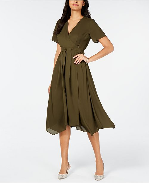Alfani Handkerchief-Hem Wrap Dress, Created for Macy's
