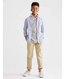 Big Boys Poplin Sport Shirt, Crewneck T-Shirt & Chino Pants