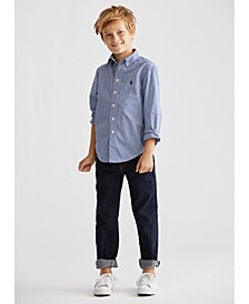 Little Boys Poplin Shirt & Hampton Straight Stretch Jeans