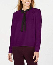 Bow-Neck Long-Sleeve Top
