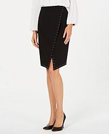 Studded Asymmetric Pencil Skirt