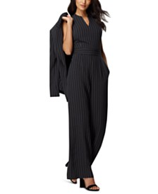 Tahari ASL Pinstriped Blazer & Wide-Leg Jumpsuit