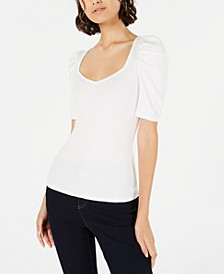 Ribbed Puffed-Sleeve Top