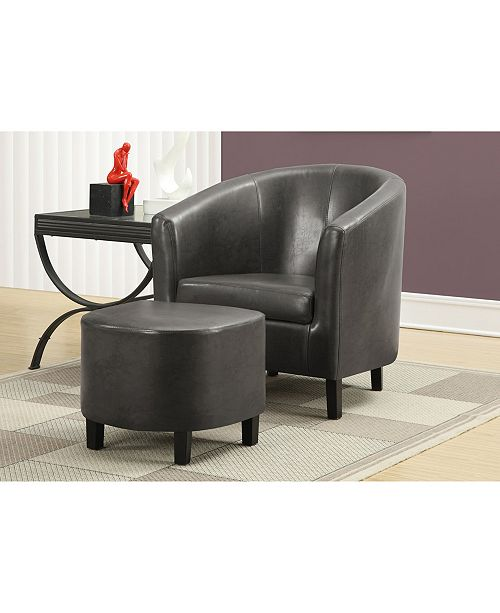 Monarch Specialties 2 Piece Set Leather Look Accent Chair
