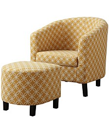 2 Piece Set Accent Chair With Ottoman