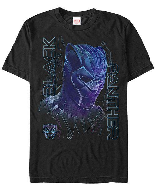Men's Black Panther Neon Line Art Panther Short Sleeve T Shirt