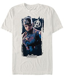 Marvel Men's Avengers Endgame Distorted Captain America Logo Short Sleeve T-Shirt