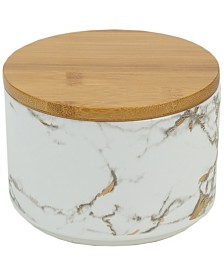 HDS Trading Marble Ceramic Small Canister with Bamboo Lid