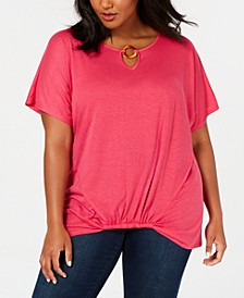 Plus Size Ring Keyhole Top