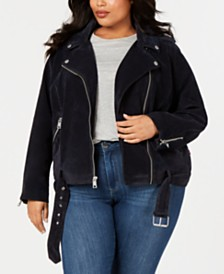 Levi's® Trendy Plus Size  Faux-Suede Moto Jacket