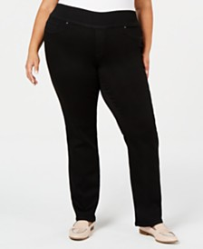 Charter Club Plus Size Straight-Leg Pull-On Jeans, Created for Macy's
