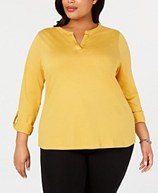Plus Size Supima® Cotton Split-Neck Top, Created for Macy's