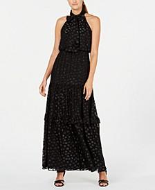 Polka-Dot Halter Gown
