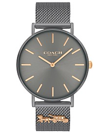 COACH Women's Perry Gray Stainless Steel Mesh Bracelet Watch 36mm