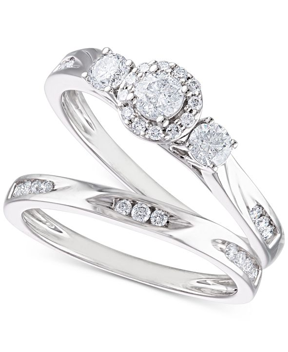 Macy's Certified Diamond Bridal Set (5/8 ct. t.w.) in 14k White Gold