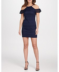 Cold Shoulder Lace Sheath Dress