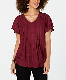 Petite Textured Flutter-Sleeve Top, Created for Macy's