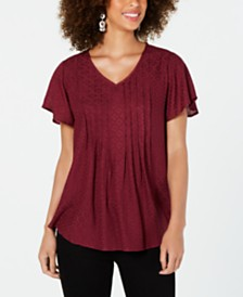 Style & Co Petite Textured Flutter-Sleeve Top, Created for Macy's