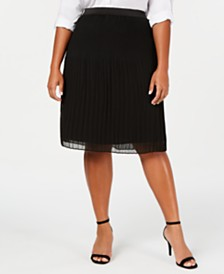 I.N.C. Plus Size Pleated Midi Skirt, Created for Macy's