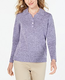 Petite Point-Collar Sweater, Created for Macy's