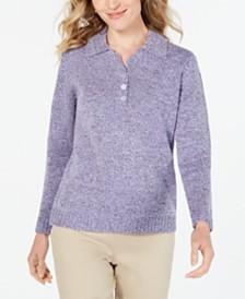 Karen Scott Petite Point-Collar Sweater, Created for Macy's