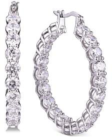 Tiara Cubic Zirconia Hoop Earrings in Sterling Silver