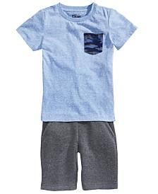 Epic Threads Little Boys Camo-Pocket T-Shirt & Fleece Drawstring Shorts, Created for Macy's