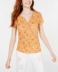 Juniors' Floral Lace-Back T-Shirt