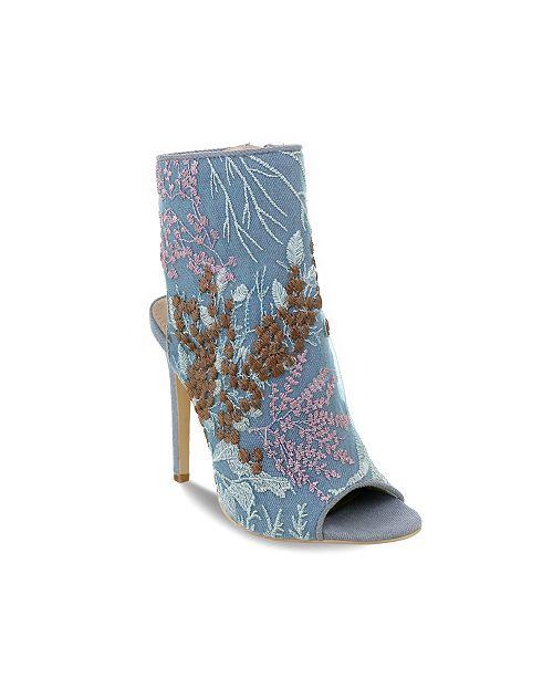 Olivia Miller Harbour Denim Embroidered Peep Toe Heel Sandals