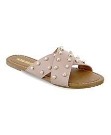 Lucie Multi Pearl Studded Slide Sandals