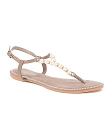Olivia Miller Haven Multi Pearl Strap Sandals