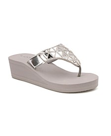 Pompano Mirror Hooded Wedge Sandals
