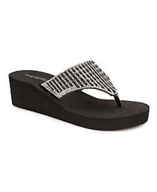 Olivia Miller Miramar Multi Rhinestone Wedge Sandals