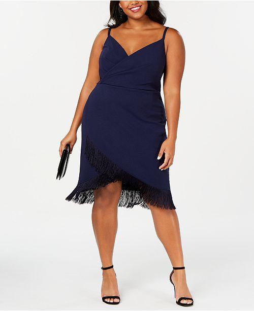 Trendy Plus Size Fringe-Trim Sheath Dress